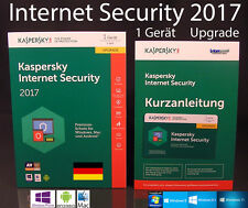 Kaspersky Internet Security 2017 Upgrade 1 dispositivo + Box & Manual (PDF) OVP nuevo
