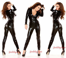 WET Look CATSUIT Long Sleeve Bodysuit AUTHENTIC KITTEN Black Lame' Jumpsuit OS