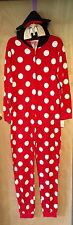 Disney Parks Minnie Mouse Hooded Onesie Pajamas W/ Ears. Women's Large. NWT