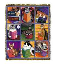 TIGER CAT NAP BOOKS MAX IN LIBRARY STACK TAPESTRY THROW AFGHAN BLANKET 70x54