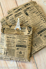 Vintage Newsprint Kraft Paper Bags 10pc small DIY craft wedding party gift wrap
