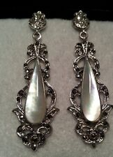 NATURAL CREAMY WHITE WITH IRIDESCENT MOTHER OF PEARL-MARCASITE 925 SIVER EARRING