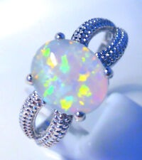 "GORGEOUS WHITE  FIRE OPAL  RING UK Size ""T"" US  10.5"