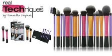 Real Techniques 15 Makeup Brushes Core Collection Eyes Set Travel Kit Duo-Fiber