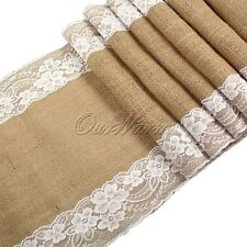 10 Jute Burlap Table Runner Lace Hessian for Wedding Party Venue Decorations