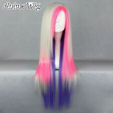 75CM Mixed Blonde /Pink /Purple Long Straight Anime Cosplay Women Hair Wig