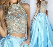 High Collar Blue Two Piece Crop Top Halter Bead Prom Dresses Formal Bridesmaid