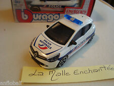 NEW RENAULT CLIO POLICE NATIONALE B BURAGO EMERGENCY NEUF EN BOITE 1/43°