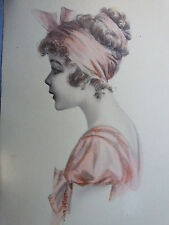 Signed Print Charming Young Lady pink hair bow, pink dress 1920-30 Period frame