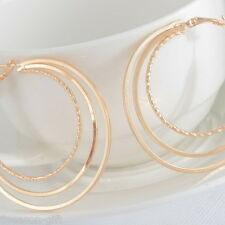 HX 1Pair Earrings Hoop Dangle Drop Vogue Three Layers Jewelry Light Golden