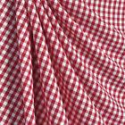 RED WHITE 1/4 GINGHAM COTTON BLEND FABRIC Tablecloth Cushion Ruffle Dress Drape