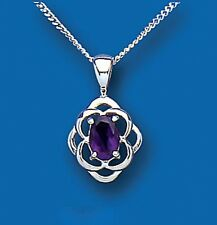 Beautiful 925 Sterling Silver Real Amethyst Oval Pendant & Chain 17 x 10mm