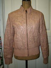 Authentic ROCA WEAR Womens Pink Genuine Leather Embroidered Jacket Coat Sz L