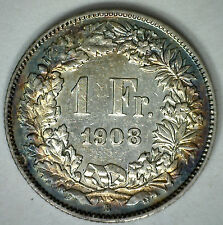 1908 B Silver Switzerland Swiss Helvetia 1 One Franc Coin YG Beautiful Toning