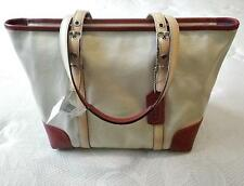 NEW COACH HAMPTON LEGACY WEST LG OFF WHT FABRIC RED LEATHER TRIM MARKET TOTE BAG