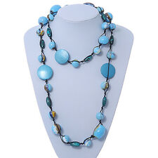 Long Light Blue/ Gold Wood Bead Black Cord Necklace - 120cm Length