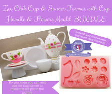 Zee Chik Cup & Saucer Former/cup handle flower mould bundle- tea party modelling