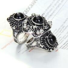 Vintage Silver Punk Rock Emo Full Finger Armor Knuckle Hinged Double Finger Ring