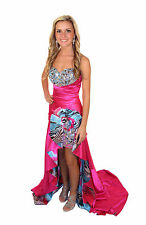 New RIVA Designs 9456 Malibu Pink Print Hi-Low Pageant Prom Evening Dress Size 8