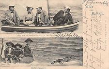 Gruß aus Borkum Frau mit Männer Kinder im Boot Postkarte 1906