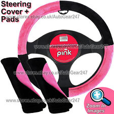Black Pink Car Steering Wheel Cover Glove + 2 Shoulder Harness Seat Belt Pads