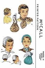 "Hats Fabric Sewing Pattern McCall # 1571 Millinery Cap & Bag Purse 22"" Alopecia"