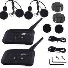 2set V6 1200M BT Bluetooth Motorcycle Helmet Intercom Interphone Headset 6 Rider
