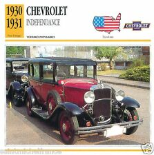 CHEVROLET INDEPENDANCE 1930 1931 CAR VOITURE USA ETATS-UNIS CARTE CARD FICHE