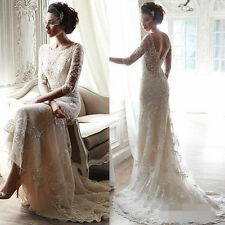 Romantic Vintage Wedding Dress Ivory White Half Sleeve Lace Backless Bridal Gown