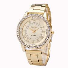 Luxury Men Women Watches Crystal Dial Stainless Steel Analog Quartz Wrist Watch