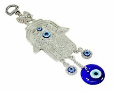 Turkish Blue Evil Eye Silver Hamsa Hand Amulet Wall Hanging Decor Protection