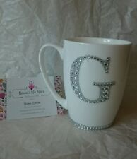 Personalised Mug / with Large rhinestone glitter letter / white / bone china