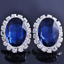 Korean Womens Fashion Jewelry White GF Oval Sapphire Blue Stud  Earrings