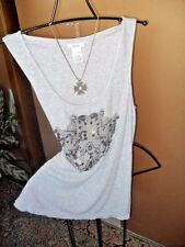 Cache, L, GRAY, SILVER SEQUINS/BEADING FRONT DETAIL TANK TOP