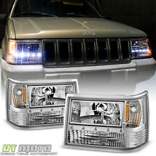 1993-1998 Jeep Grand Cherokee 6in1 DRL Led Headlights+Corner Bumper Lights 93-98