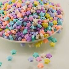 9mm STAR BEADS ACRYLIC PASTEL MIX COLOR CRAFT KID DIY DECORATIONS CHARM 100 PCS