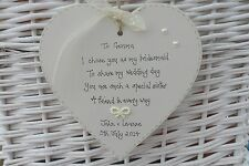PERSONALISED BRIDESMAID/MAID OF HONOUR SHABBY WOODEN HEART WEDDING KEEPSAKE GIFT