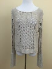 FREE PEOPLE Beige/rainbow Open Crochet Pullover Sweater Medium #2627