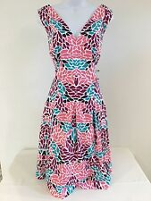 NWT ANNE KLEIN fit and flare  PINK /white/ Blue floral DRESS size 14  ret  $119