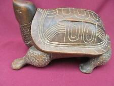 A LARGE PRIMITIVE WOOD CARVED TURTLE/TORTOISE COVERED BOX MEXICO INDIAN CHINESE