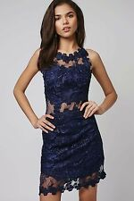 TOP SHOP CRISSCROSS BACK LACE SKATER NAVY BLUE DRESS sz 4