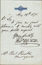 Theatre & Early Film Actor FREDERICK B. WARDE Autograph Note Signed - 1875