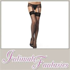Sexy Fencenet Suspender Crotchless Tights Black Lingerie Stockings Size 10 12 14