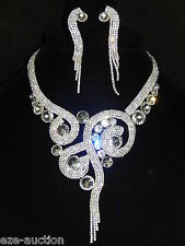 STUNNING BRIDAL SILVER CLEAR RHINESTONE CRYSTAL NECKLACE AND EARRINGS SET