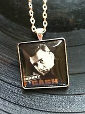 "Johnny Cash  Glass Dome Pendant Tray Necklace 24"" Forever Postage Stamp"