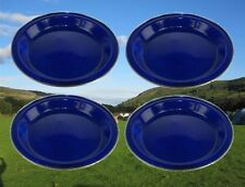 4 x BLUE 25cm ENAMEL PICNIC FOOD DINNER PLATE DISH CAMPING TRAVEL RY381