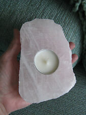 NEW XXL NATURAL ROUGH RAW ROSE QUARTZ CRYSTAL CANDLE HOLDER--MADAGASCAR