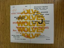 18/11/1972 Ticket: Wolverhampton Wanderers v Ipswich Town  . Thanks for viewing