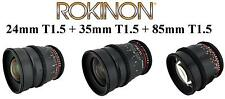 Rokinon Super Fast T1.5 Cine Lens Kit for Micro Four Thirds - 35mm + 24mm + 85mm