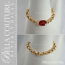 BELLA® $390 NEW VICTORIAN 14K GOLD GARNET ANTIQUE DIAMOND FACETED VTG CHAIN RING